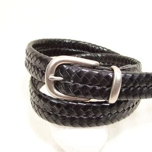 Coach Braided Black Leather Belt w/Nickle Brass